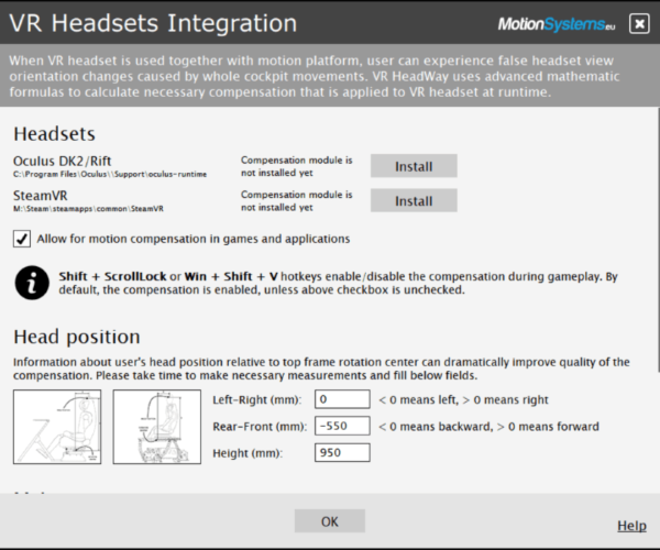 VR HeadWay - Head Position